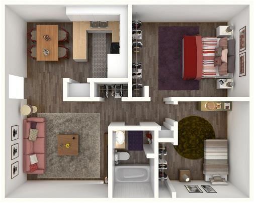 2 Bed 1 Bath RANDOLPH Floor Plan at City-Base Vista, Texas