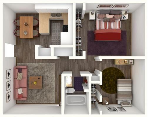 2 Bed 1 Bath BROOKS Floor Plan at City-Base Vista, Texas, 78223