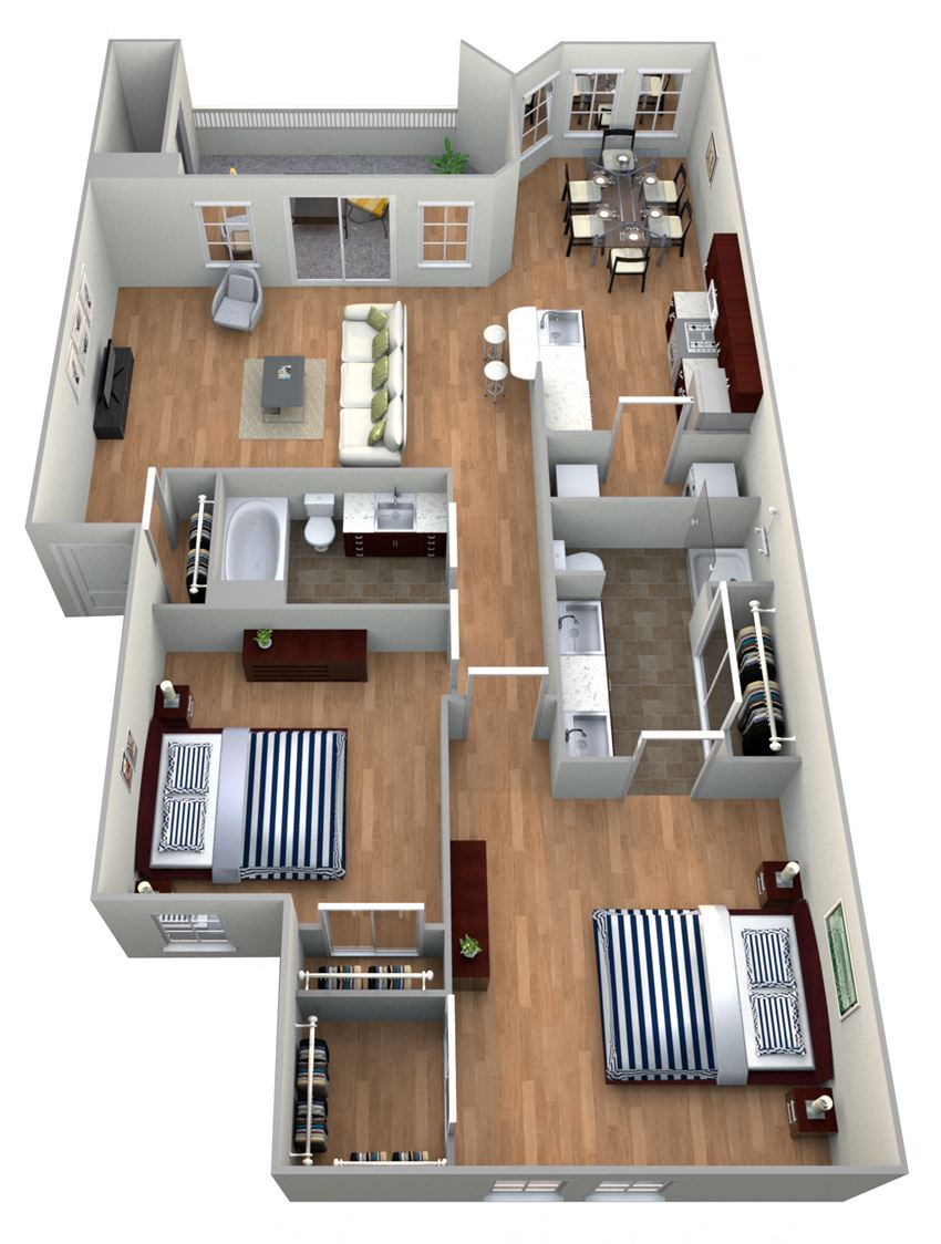 2 Bed 2 Bath 2A - GARDENS Floor Plan at The Landmark, New Braunfels, TX, 78130