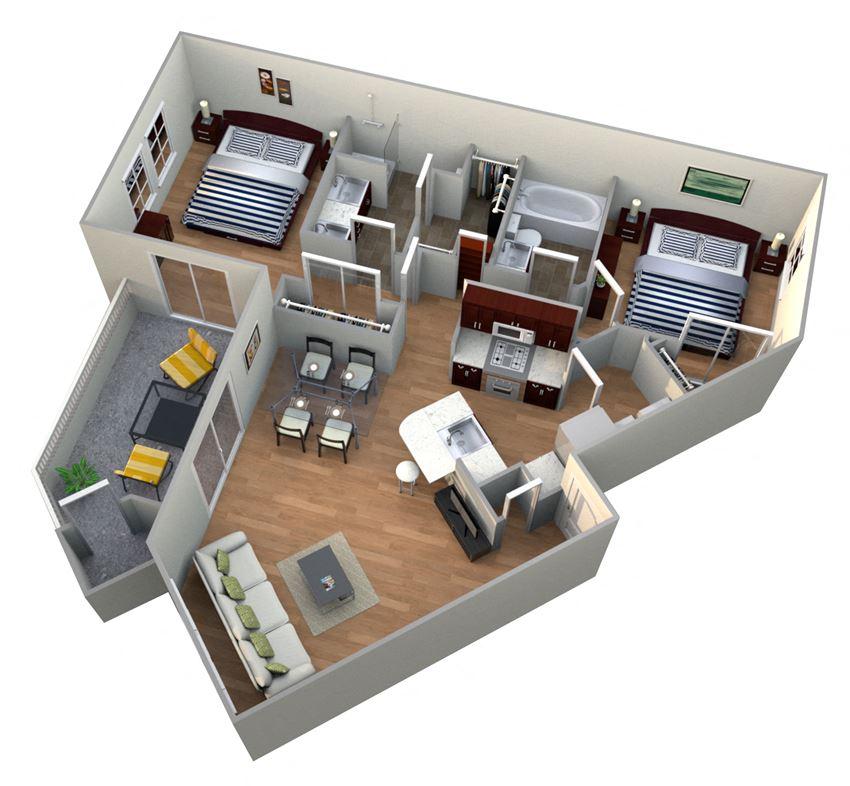2 Bed 2 Bath 2B - GARDENS Floor Plan at The Landmark, New Braunfels, TX