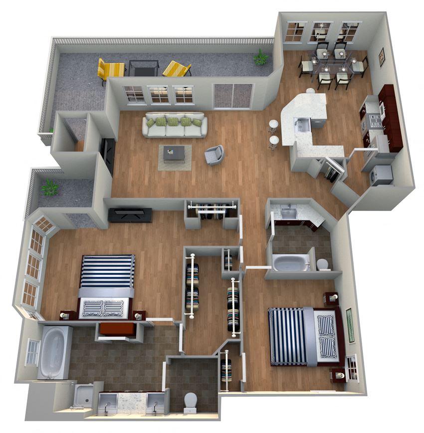 2 Bed 2 Bath 2C - GARDENS Floor Plan at The Landmark, New Braunfels