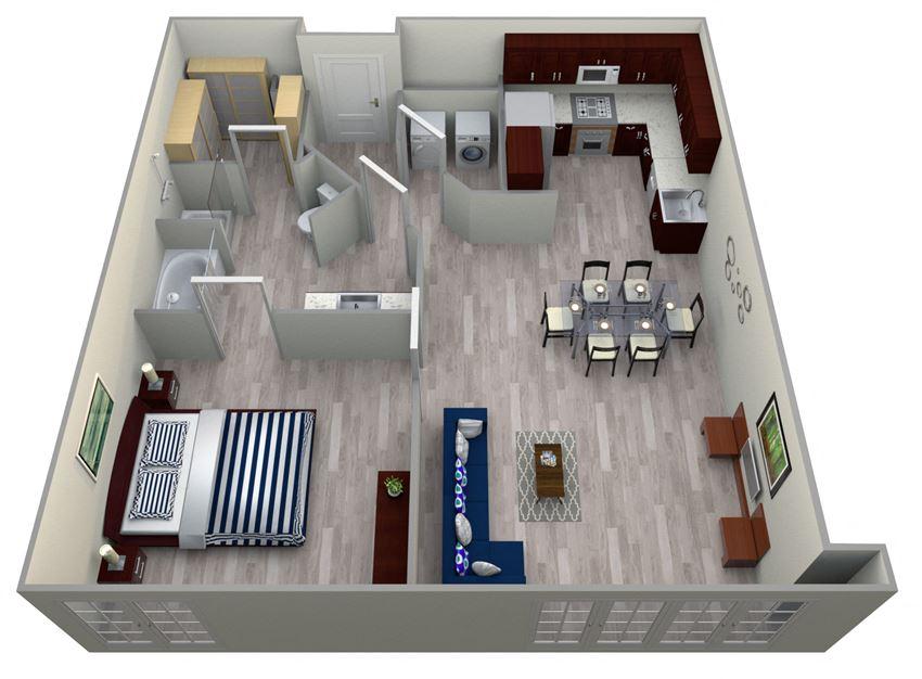 1 Bed 1 Bath 4A - LOFTS Floor Plan at The Landmark, Texas