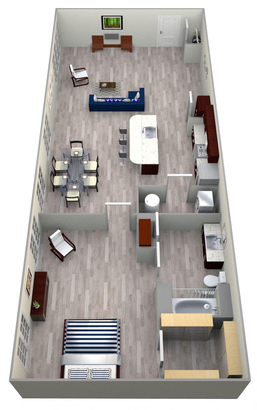 1 Bed 1 Bath 5A - LOFTS Floor Plan at The Landmark, Texas, 78130