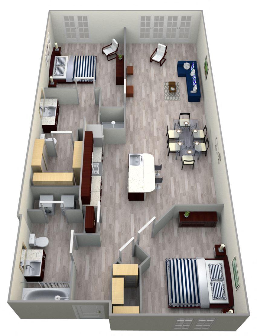 2 Bed 2 Bath 8B - LOFTS Floor Plan at The Landmark, New Braunfels, TX, 78130
