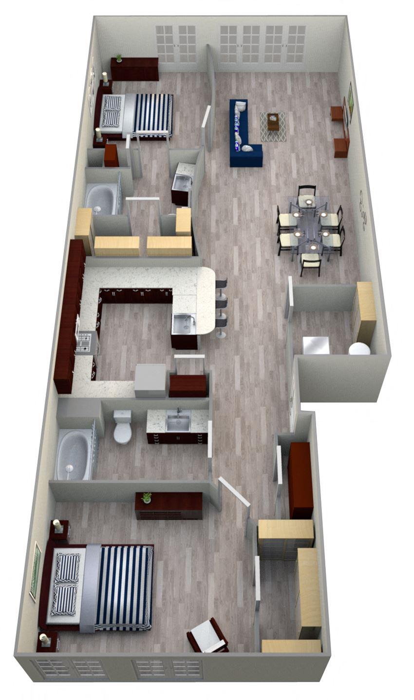 2 Bed 2 Bath 9B2 - LOFTS Floor Plan at The Landmark, New Braunfels, TX
