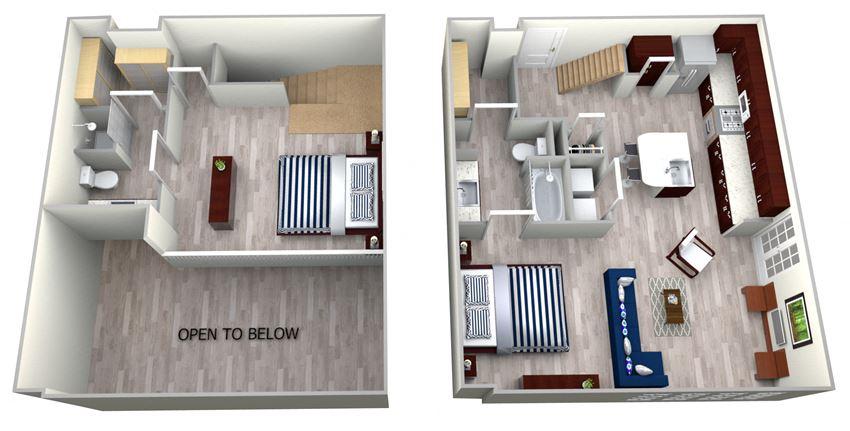 1 Bed 2 Bath TH1 - LOFTS Floor Plan at The Landmark, New Braunfels, Texas