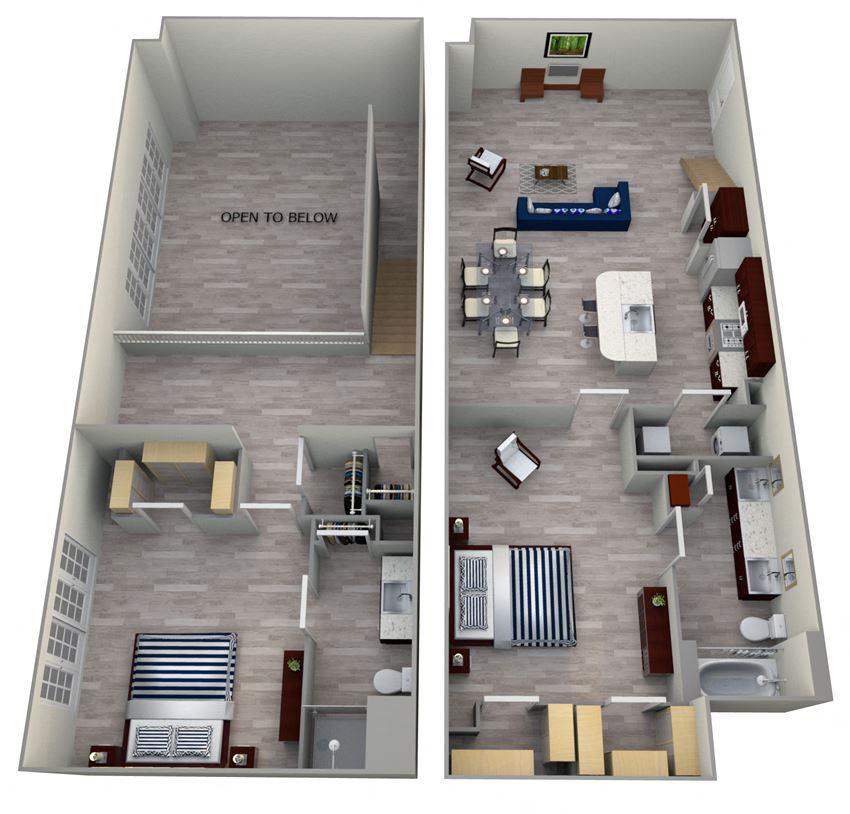 2 Bed 2 Bath TH2 - LOFTS Floor Plan at The Landmark, New Braunfels