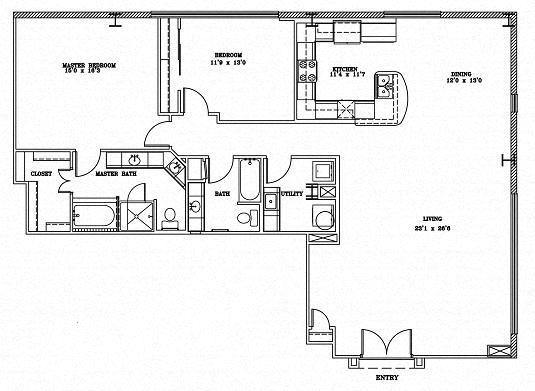 2 Bed 2 Bath 11B - LOFTS Floor Plan at The Landmark, New Braunfels