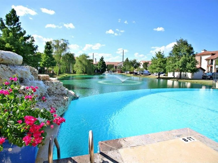 Beautiful water features in our pool at The Landmark, New Braunfels, TX, 78130