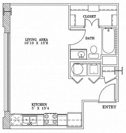 1 Bed 1 Bath 3A - LOFTS Floor Plan at The Landmark, Texas