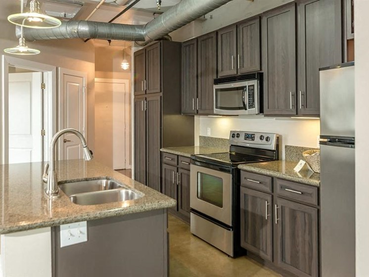 Spacious Kitchen with Pantry Cabinet at The Landmark, New Braunfels, Texas