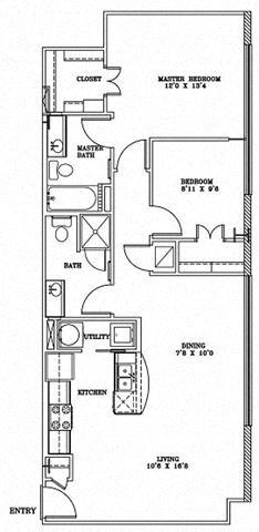 2 Bed 2 Bath 6B2 - LOFTS Floor Plan at The Landmark, New Braunfels, TX, 78130