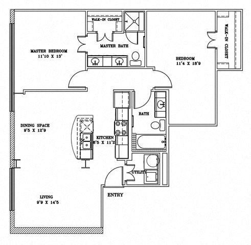 2 Bed 2 Bath 7B - LOFTS Floor Plan at The Landmark, New Braunfels, TX