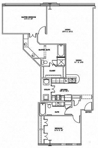 2 Bed 2 Bath 9B3 - LOFTS Floor Plan at The Landmark, New Braunfels, Texas