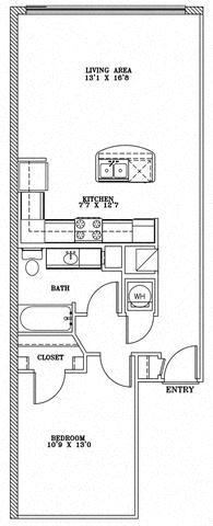 2 Bed 2 Bath 9B - LOFTS Floor Plan at The Landmark, New Braunfels, 78130