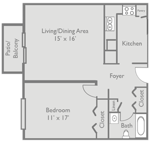 1 Bed 1 Bath A1 Floor Plan at Axis at Westmont, Illinois, 60059