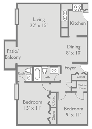 2 Bed 1.5 Bath B2 Floor Plan at Axis at Westmont, Westmont, 60059