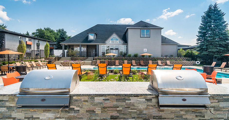 Poolside Sundeck and Grilling Area at Axis at Westmont, Illinois