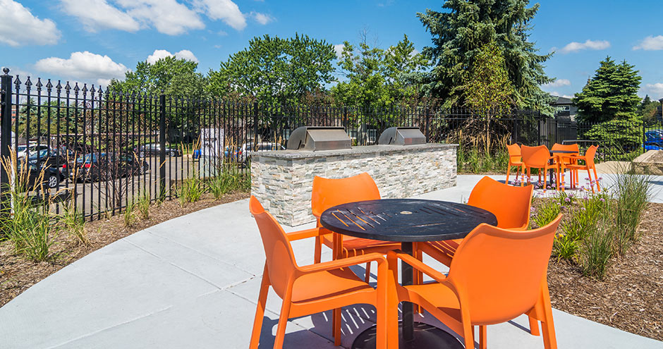 BBQ Grills and Outdoor Seating at Axis at Westmont, Illinois, 60059