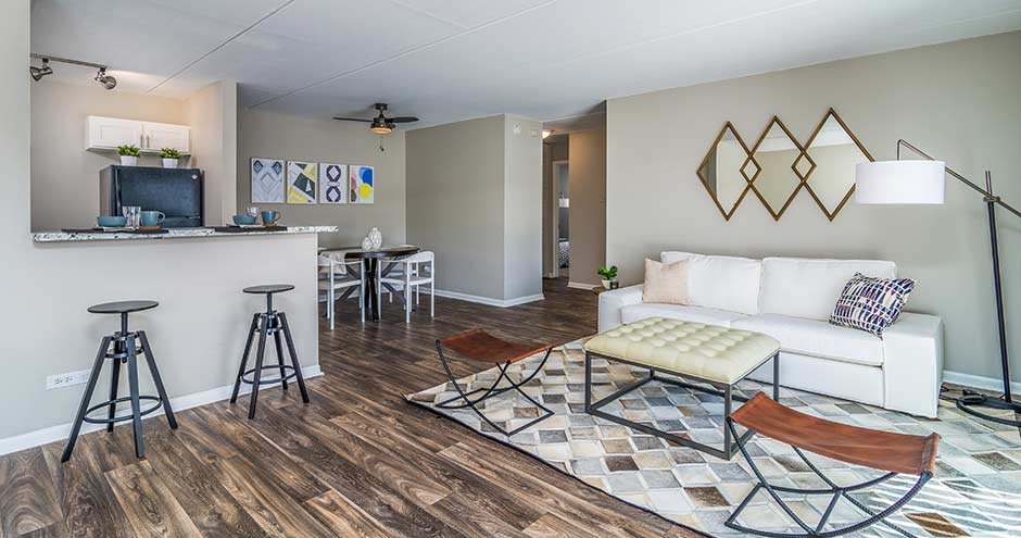 Trendy Living Room at Axis at Westmont, Illinois, 60059