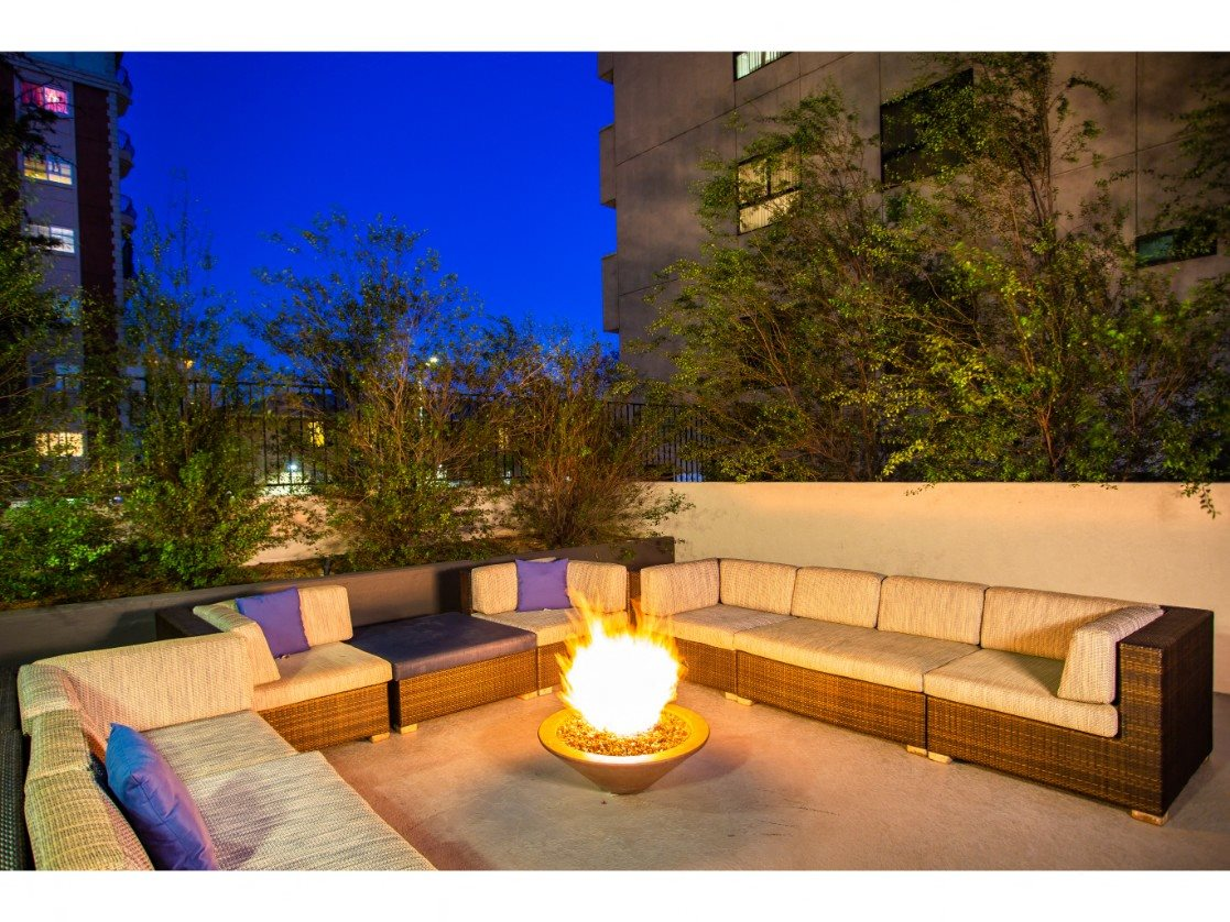 Koreatown, CA Apartments - The View Apartments Outdoor Lounge with Cozy Seating and a Fire Pit