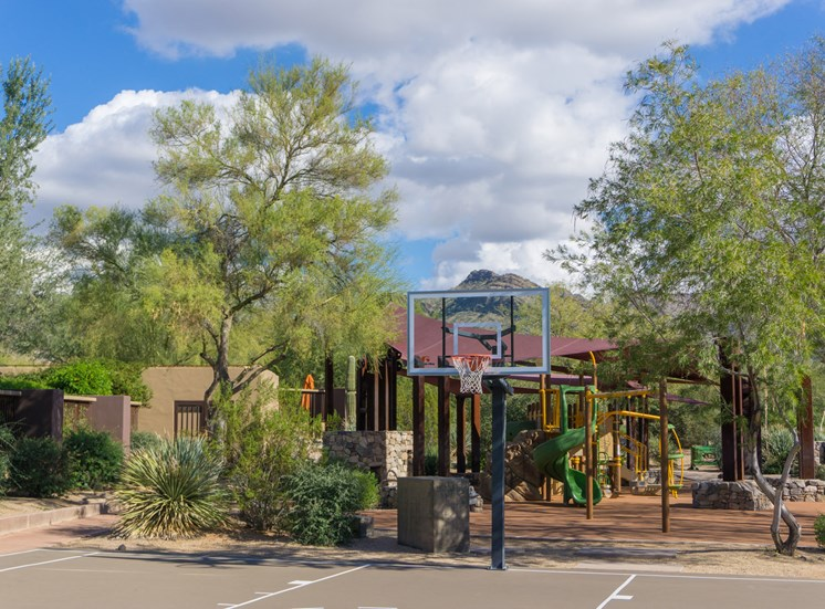 Local basketball court and playground
