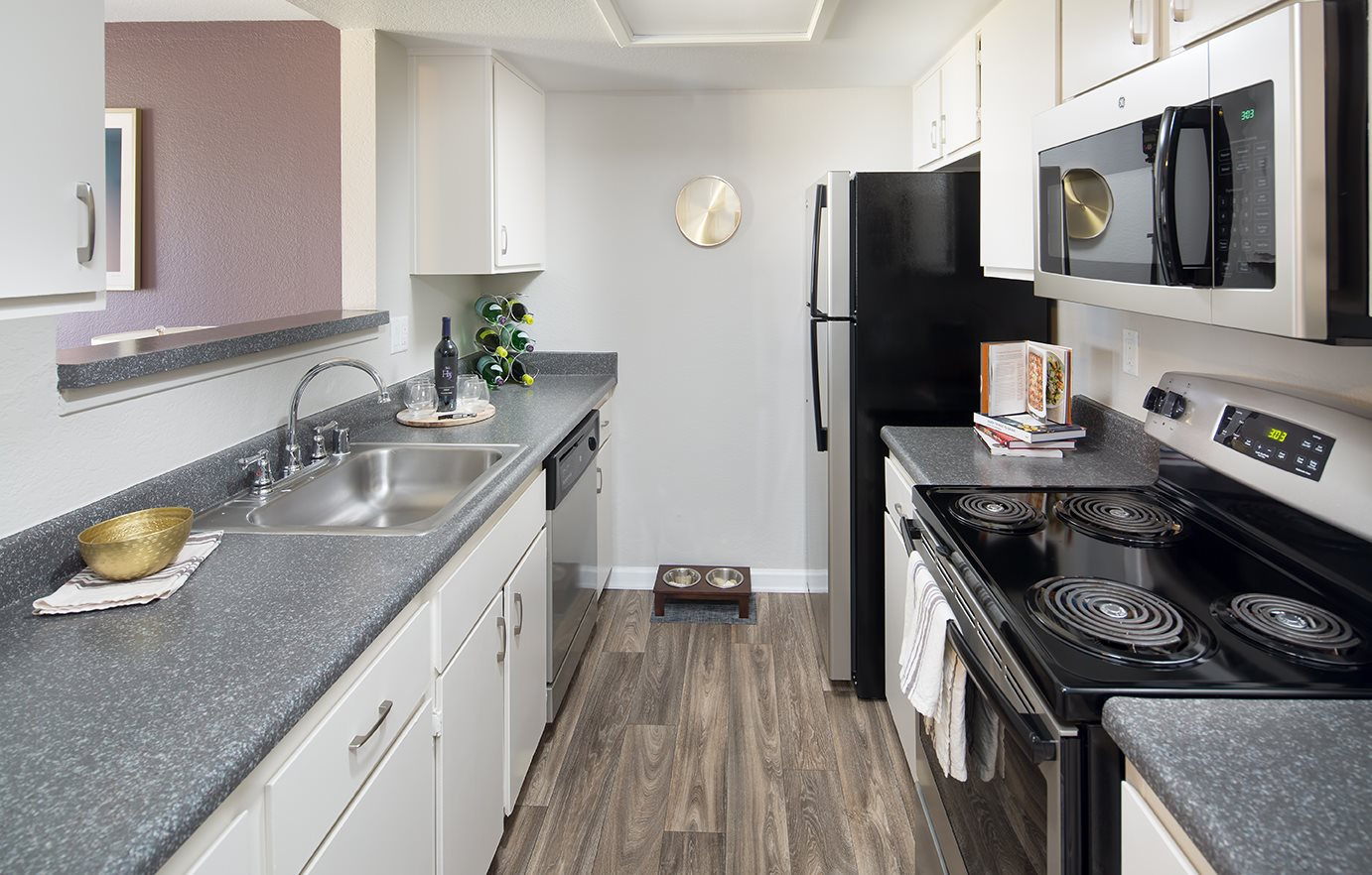 Upgraded kitchen at Sorelle apartments in Moreno Valley, CA