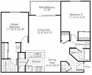 Villa Serena Apartments Floor Plan B1 Henderson, Nevada