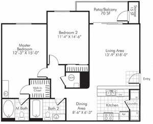 Villa Serena Apartments Floor Plan B2 Henderson, Nevada