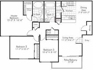 Villa Serena Apartments Floor Plan C1 Henderson, Nevada