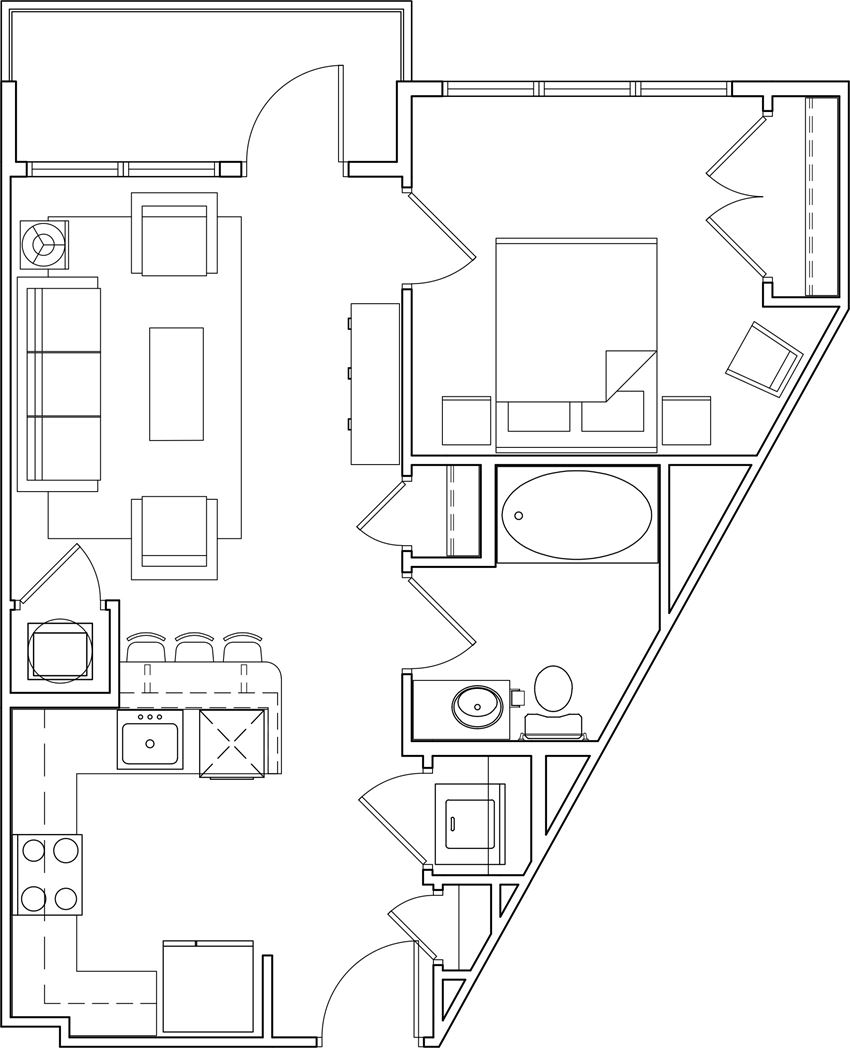 616 at the Village one bedroom floor plan