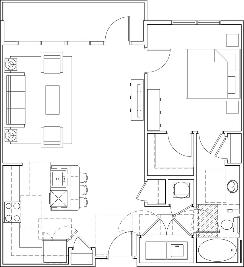 616 at village one bedroom floor plan