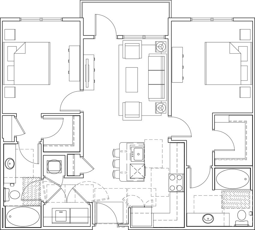 616 at the village two bedroom floor plan