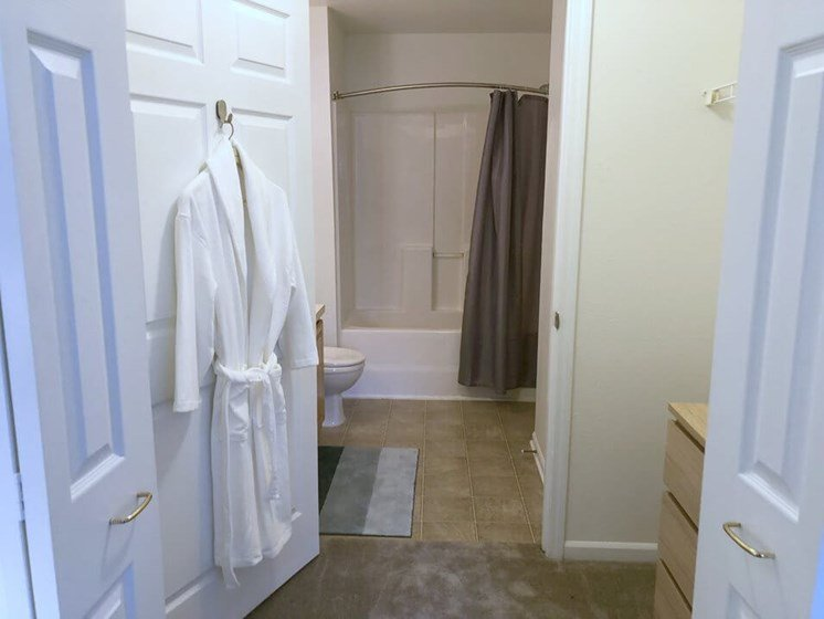 Main Bedroom Walk-in Closet and Private Bathroom- Fairfield Apartments and Condominiums in Fenton, MI