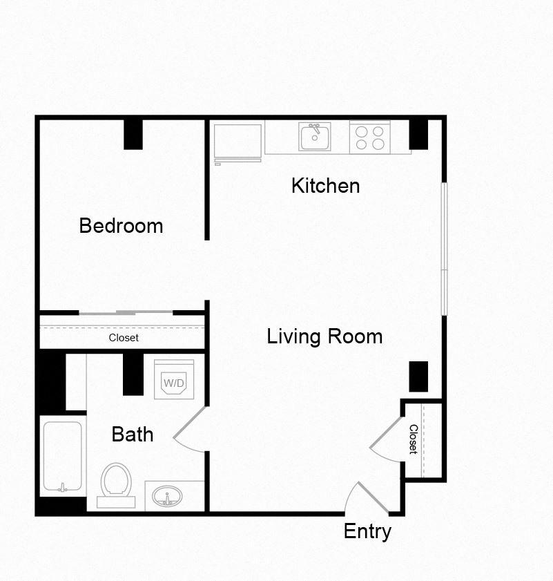 Couch9 Apartments 621 sqft Floor Plan
