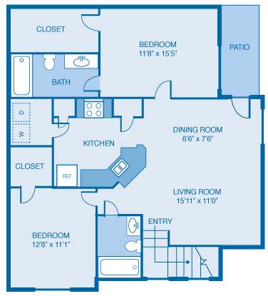 2 Bed/2 Bath - 1042 Sqft Floor Plan 6