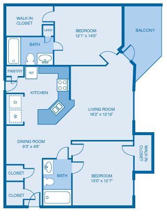 2 Bed/2 Bath - 1124 Sqft Floor Plan 7