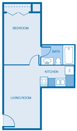 1 Bed 1 Bath Junior Floor Plan 1