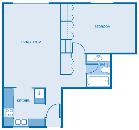 1 Bed 1 Bath Large Floor Plan 3