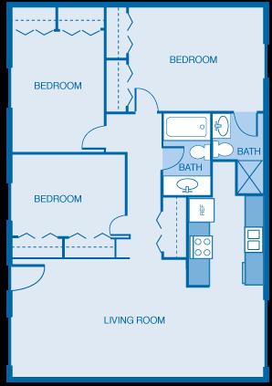 3 Bed 2 Bath Flat