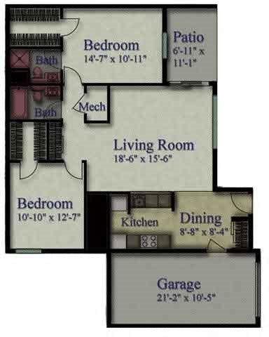 2 Bedroom Lower Floor Plan 1