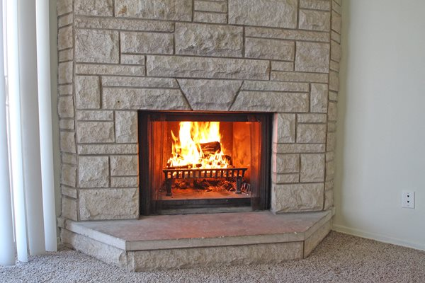 This is the fireplace at Aspen Village Apartments in Cincinnati, OH.