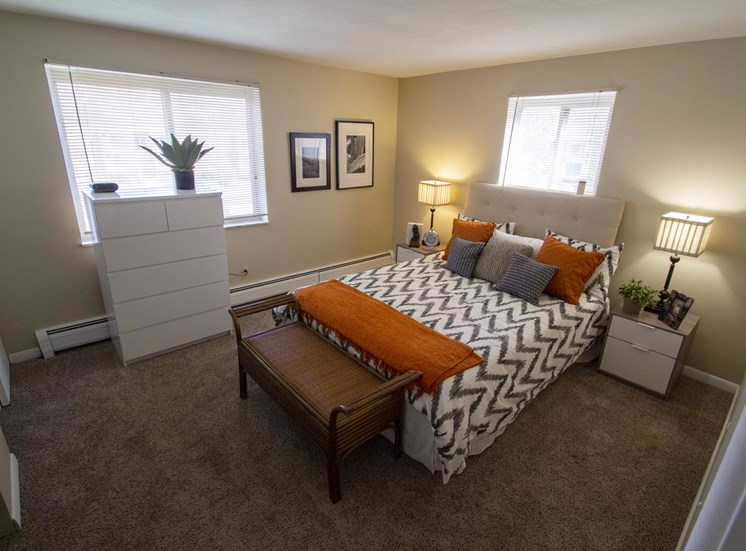 This is a photo of the bedroom of a 560 square foot, 1 bedroom apartment at Aspen Village Apartments in Cincinnati, OH.