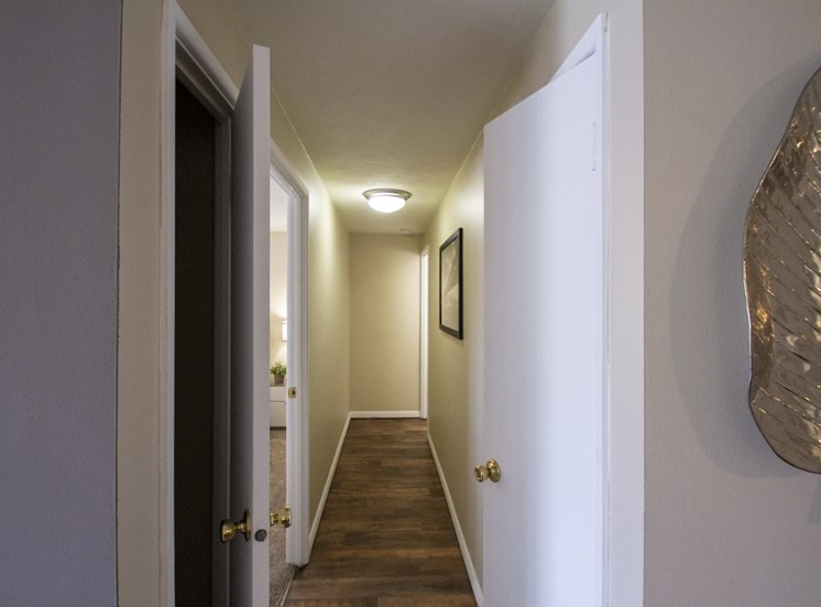 This is a photo of the hallway closets of a 560 square foot, 1 bedroom apartment at Aspen Village Apartments in Cincinnati, OH.