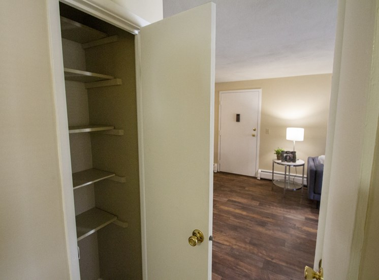 This is a photo of the hallway linen closet of a 560 square foot, 1 bedroom apartment at Aspen Village Apartments in Cincinnati, OH.
