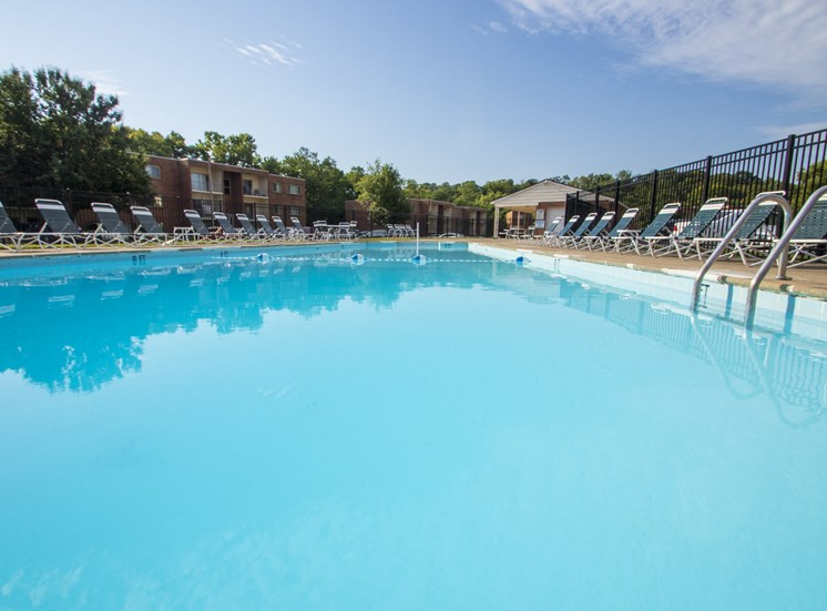 This is a photo of the pool area at Aspen Village Apartments in Cincinnati, OH.
