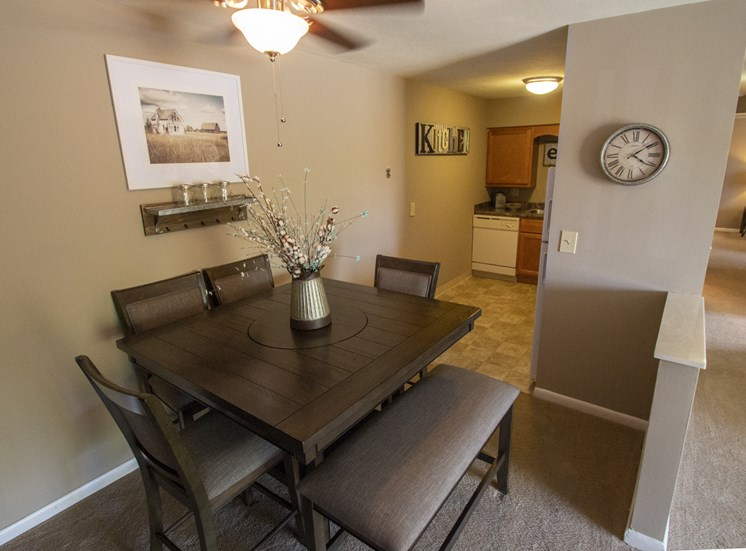 This is picture of the dining room an 823 square foot 2 bedroom apartment at Aspen Village Apartments in Cincinnati, OH.