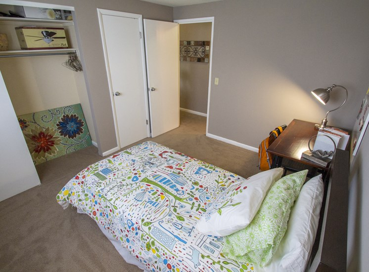 This is picture of the second bedroom in an 823 square foot 2 bedroom apartment at Aspen Village Apartments in Cincinnati, OH.