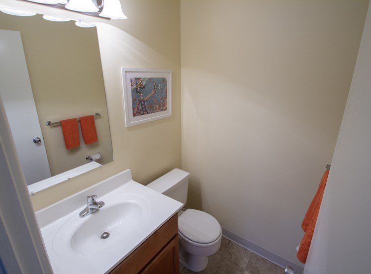 This is picture of the master half bath in an 823 square foot 2 bedroom apartment at Aspen Village Apartments in Cincinnati, OH.