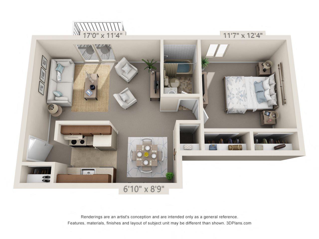 1 Bedroom, 1 Bath (Balcony, Heat Paid) Floor Plan 8